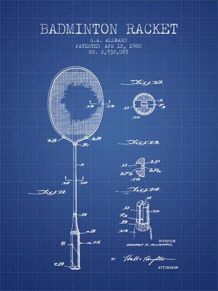 Wall Art - Digital Art - 1960 Badminton Racket Patent Spbm01_bp by Aged Pixel