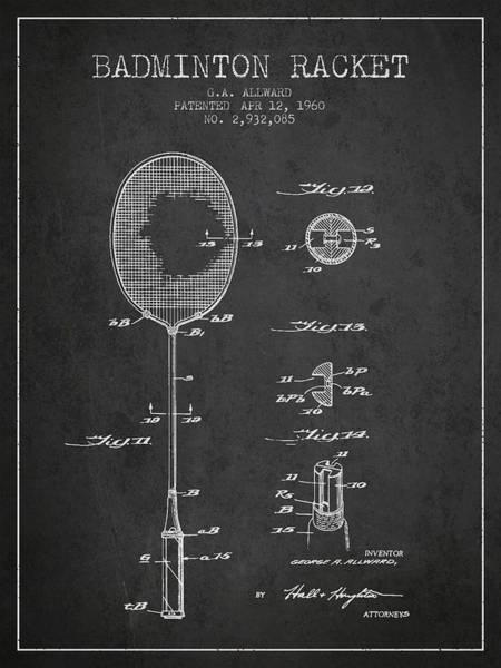 Wall Art - Digital Art - 1960 Badminton Racket Patent Spbm01_cg by Aged Pixel