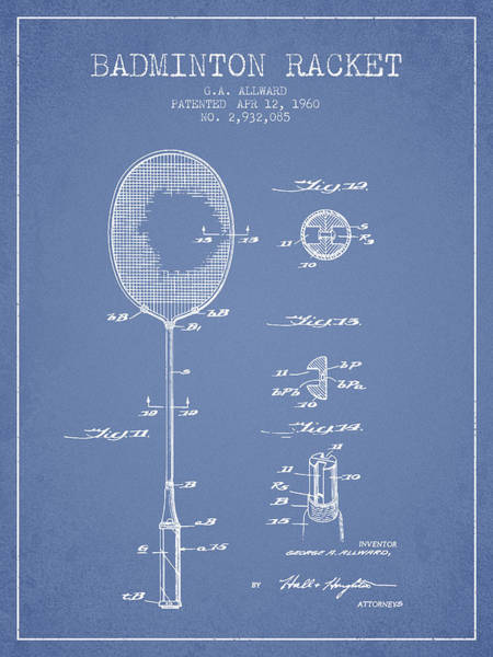 Wall Art - Digital Art - 1960 Badminton Racket Patent Spbm01_lb by Aged Pixel