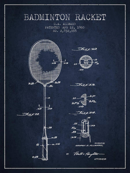 Wall Art - Digital Art - 1960 Badminton Racket Patent Spbm01_nb by Aged Pixel