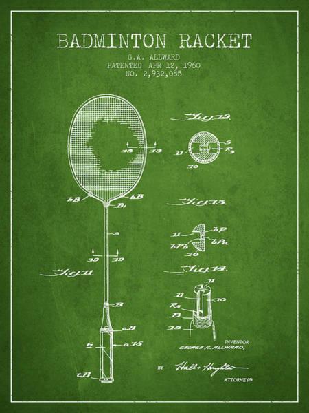 Wall Art - Digital Art - 1960 Badminton Racket Patent Spbm01_pg by Aged Pixel