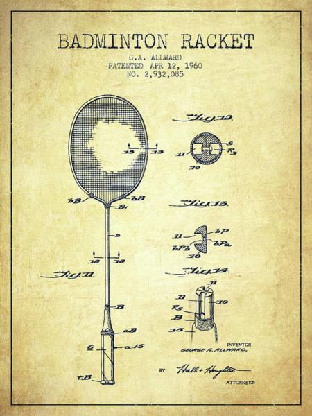 Wall Art - Digital Art - 1960 Badminton Racket Patent Spbm01_vn by Aged Pixel