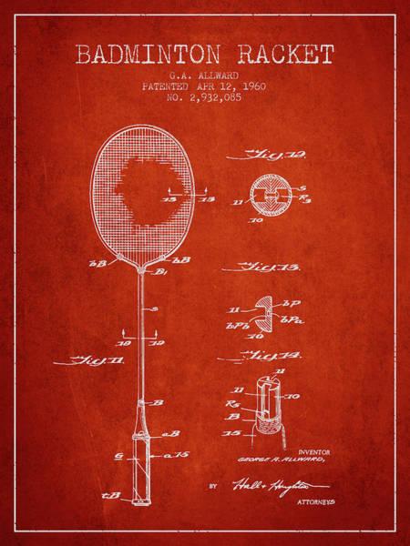 Wall Art - Digital Art - 1960 Badminton Racket Patent Spbm01_vr by Aged Pixel