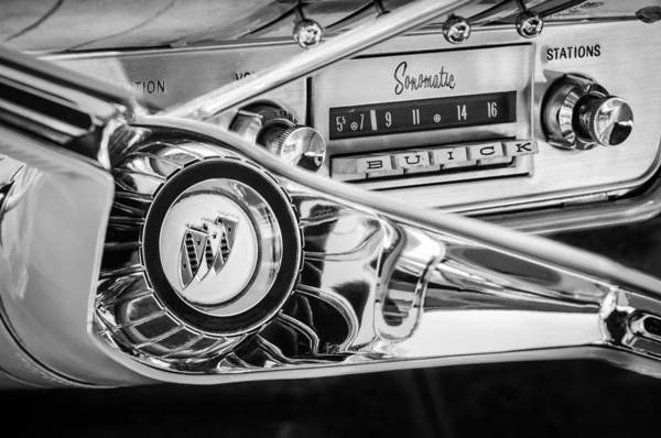 Photograph - 1960 Buick Lesabre Convertible Steering Wheel - Radio -3028bw by Jill Reger