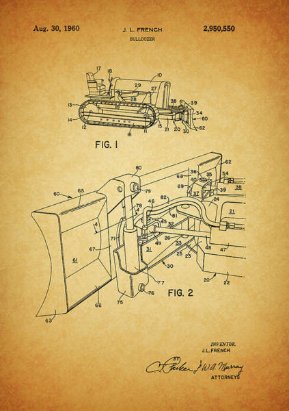 Blades Mixed Media - 1960 Bulldozer Patent by Dan Sproul