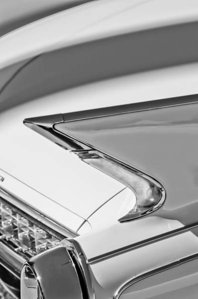 Photograph - 1960 Cadillac Eldorado Biarritz Convertible Tail Light -0918bw by Jill Reger