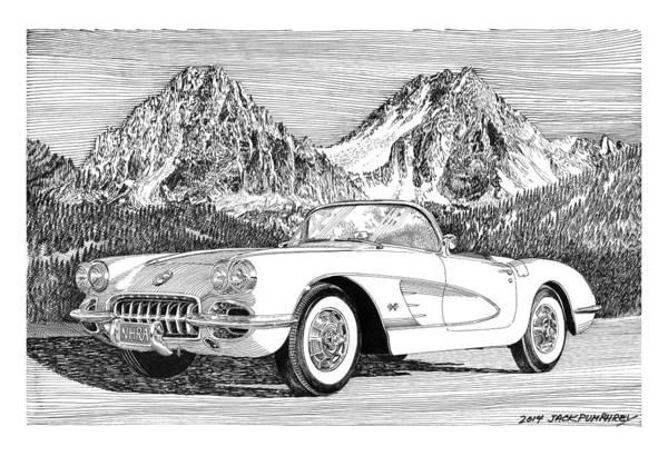 American Car Drawing - 1960 Corvette by Jack Pumphrey