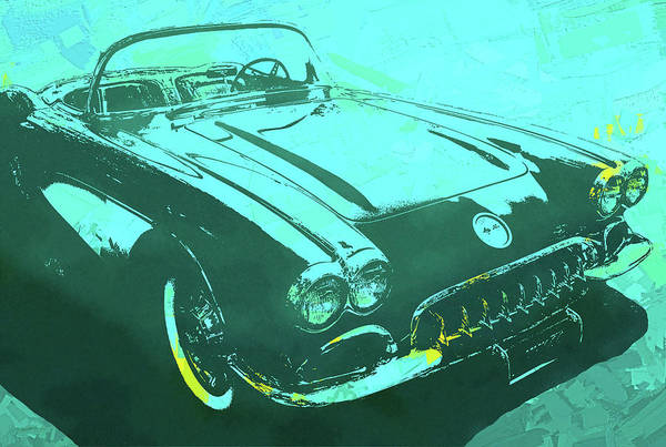 Mixed Media - 1960 Corvette Pop Turquoise by David King