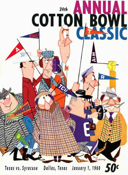 Longhorn Painting - 1960 Cotton Bowl Football Program by John Farr