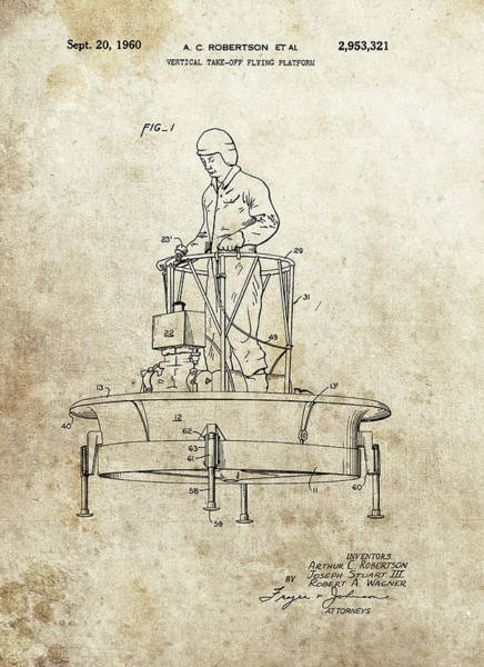 Wall Art - Drawing - 1960 Flying Machine Patent by Dan Sproul