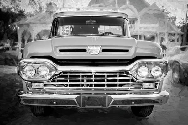 V8 Engine Photograph - 1960 Ford F100 Pick Up Truck Bw by Rich Franco