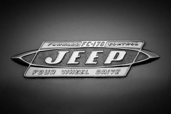 Jeep Wall Art - Photograph - 1960 Forward Control Jeep Fc-170 Emblem -1669bw by Jill Reger