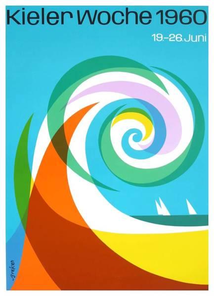 Wall Art - Digital Art - 1960 Kiel Regatta Sailing Poster by Retro Graphics