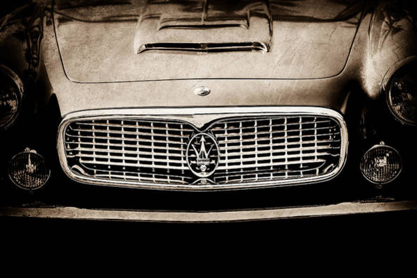 Photograph - 1960 Maserati 3500 Gt Spyder Grille Emblem -0449s by Jill Reger