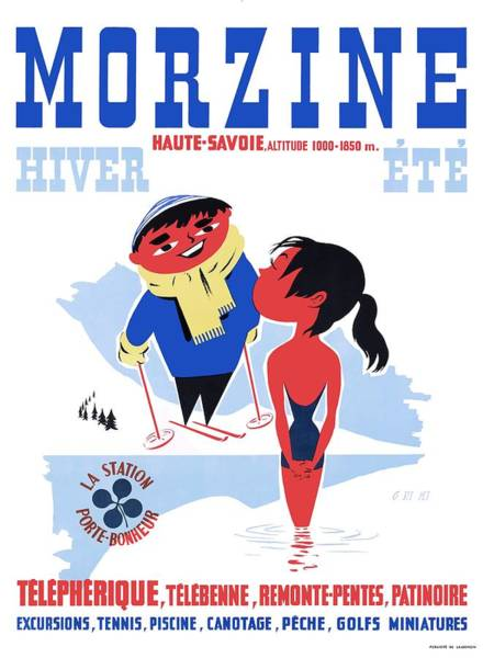 1960s Digital Art - 1960 Morzine France Resort Travel Poster by Retro Graphics
