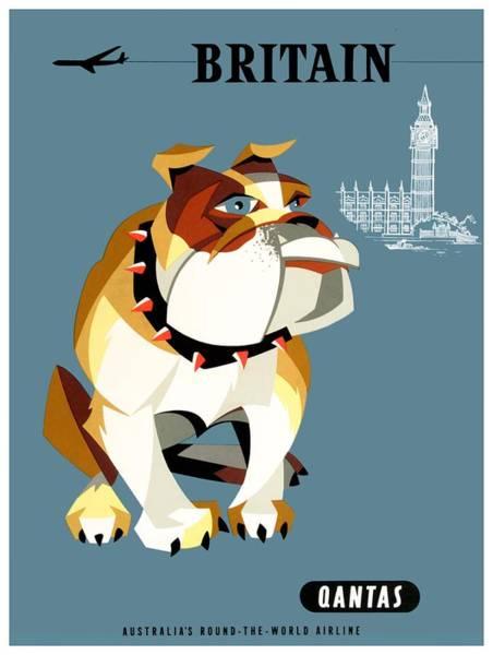 Wall Art - Photograph - 1960 Qantas Britain Bulldog Travel Poster by Retro Graphics