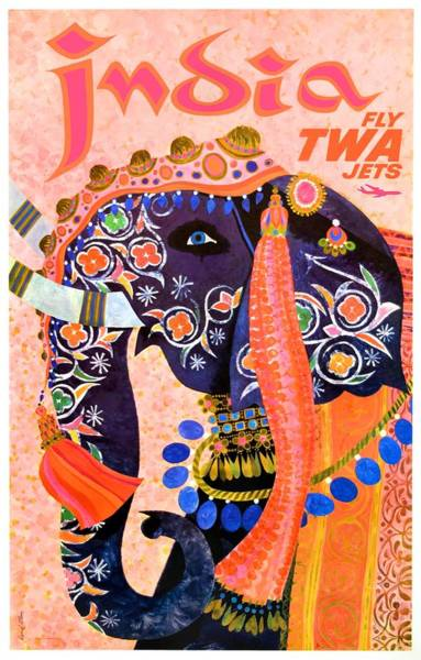 Wall Art - Digital Art - 1960 Twa India Elephant Travel Poster by Retro Graphics