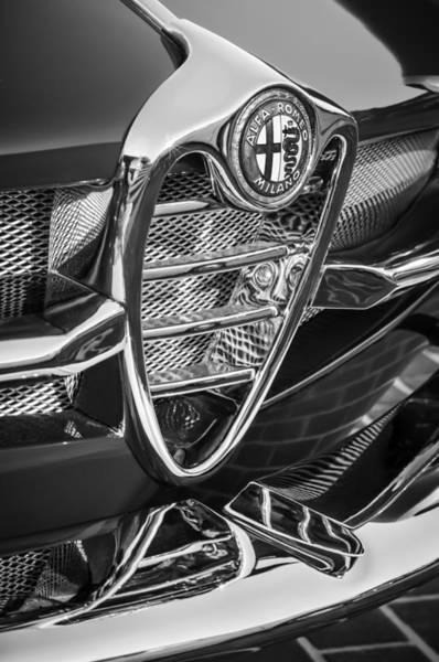 Photograph - 1961 Alfa Romeo Giulietta Sprint Speciale Grille Emblem -1223bw by Jill Reger