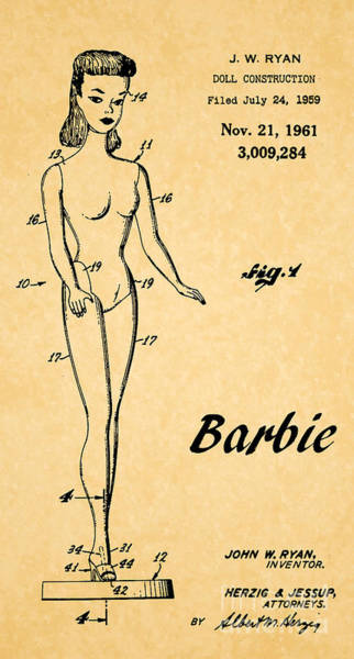 Vintage Patent Wall Art - Digital Art - 1961 Barbie Doll Patent Art 5 by Nishanth Gopinathan