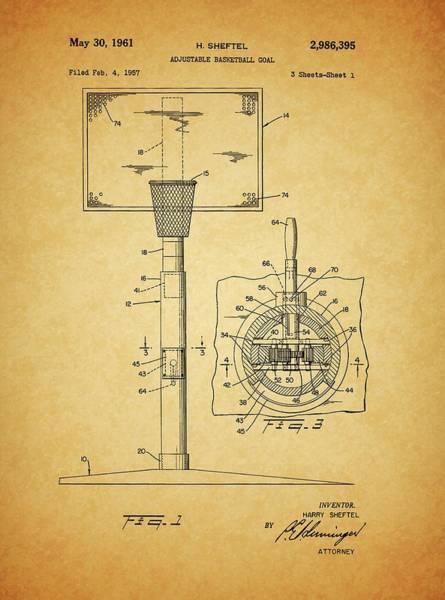 Nba Drawing - 1961 Basketball Hoop Patent by Dan Sproul