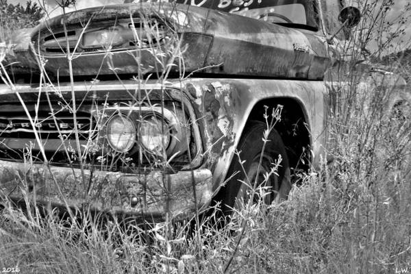 Photograph - 1961 Chevrolet Apache 10 Black And White 4 by Lisa Wooten