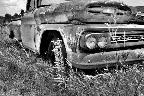 Photograph - 1961 Chevrolet Apache 10 Black And White 5 by Lisa Wooten
