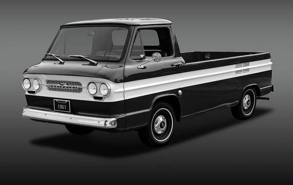 Corvair Photograph - 1961 Chevrolet Corvair Rampside  -  61corvairrampsidebw172180 by Frank J Benz