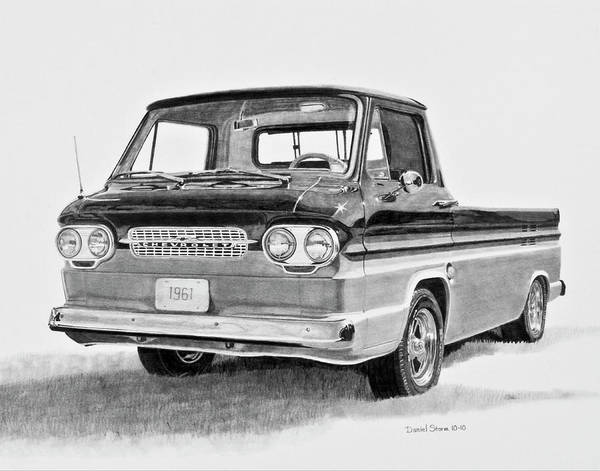 Old Chevy Truck Drawing - 1961 Chevrolet Corvair Rampside by Daniel Storm