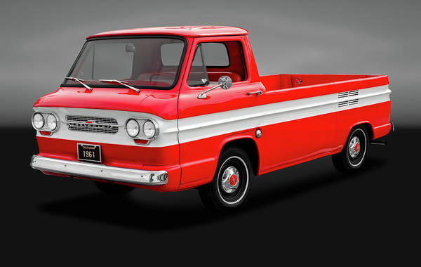 Corvair Photograph - 1961 Chevrolet Corvair Rampside Truck  -  1961chevycorvairgry172180 by Frank J Benz