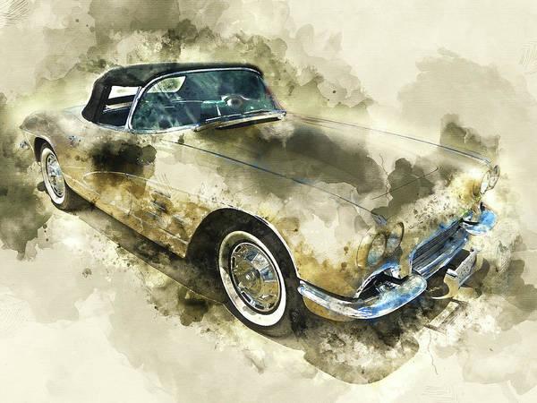 Wall Art - Mixed Media - 1961 Chevrolet Corvette by Kevin O'Hare