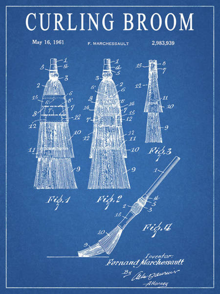 Mixed Media - 1961 Curling Broom Patent by Dan Sproul