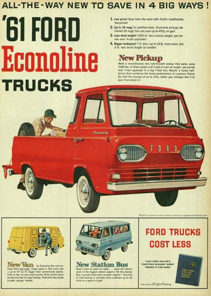 Mixed Media - 1961 Ford Econoline Vintage Ad by Movie Poster Prints