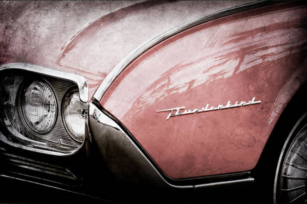 Wall Art - Photograph - 1961 Ford Thunderbird Emblem -0177ac by Jill Reger