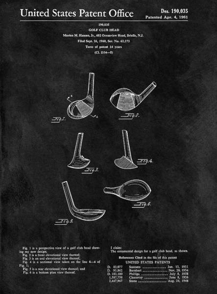 Wall Art - Drawing - 1961 Golf Club Head Patent by Dan Sproul