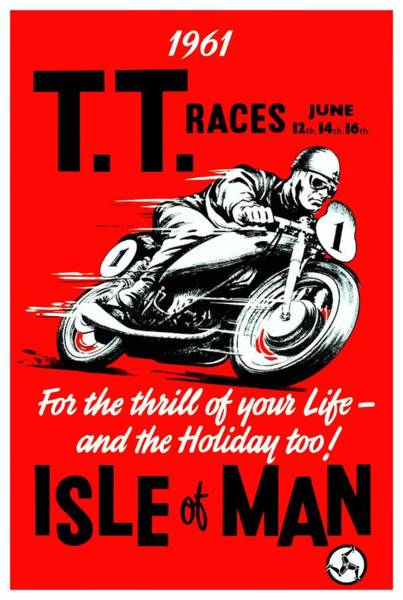 Wall Art - Digital Art - 1961 Isle Of Man Tt Motorcycle Race Poster  by Retro Graphics