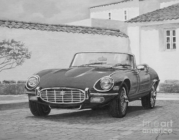 Painting - 1961 Jaguar Xke Cabriolet In Black And White by Sinisa Saratlic