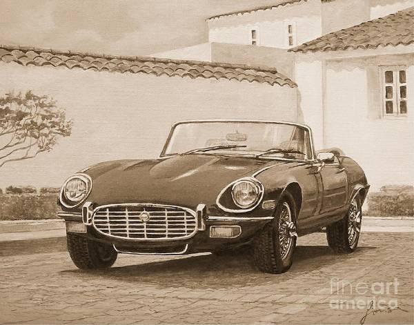 Painting - 1961 Jaguar Xke Cabriolet In Sepia by Sinisa Saratlic