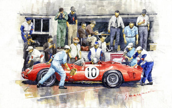 Wall Art - Painting - 1961 Le Mans 1961 Ferrari 250 Tri Olivier Gendebien Phil Hill Winner  by Yuriy Shevchuk