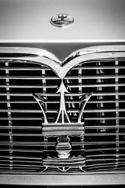 Wall Art - Photograph - 1961 Maserati 3500 Gt Coupe Speciale Grille Emblem -0995bw by Jill Reger
