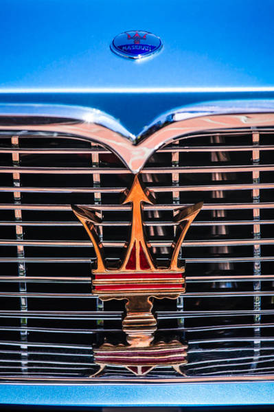 Photograph - 1961 Maserati 3500 Gt Coupe Speciale Grille Emblem -0995c by Jill Reger