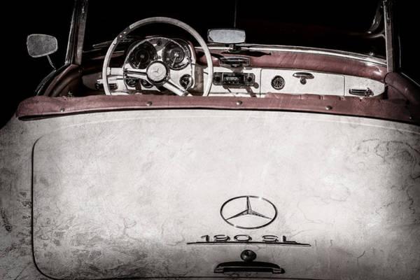 Wall Art - Photograph - 1961 Mercedes-benz 190 Sl Emblem - Steering Wheel -1996ac by Jill Reger