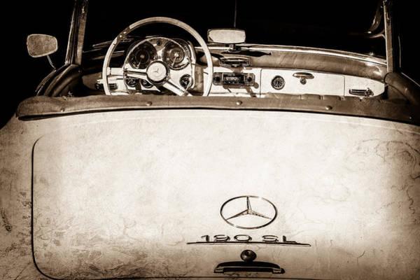 Wall Art - Photograph - 1961 Mercedes-benz 190 Sl Emblem - Steering Wheel -1996s by Jill Reger
