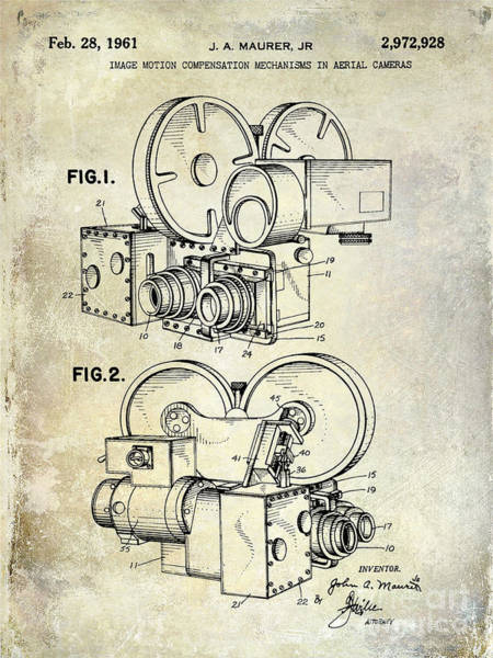 1937 Wall Art - Photograph - 1961 Movie Camera Patent by Jon Neidert