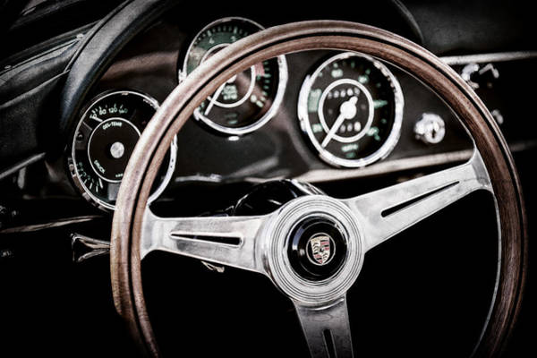 Wall Art - Photograph - 1961 Porsche 356 B Roadster Steering Wheel Emblem -1988ac by Jill Reger