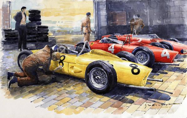 Spa Painting - 1961 Spa-francorchamps Ferrari Garage Ferrari 156 Sharknose  by Yuriy Shevchuk