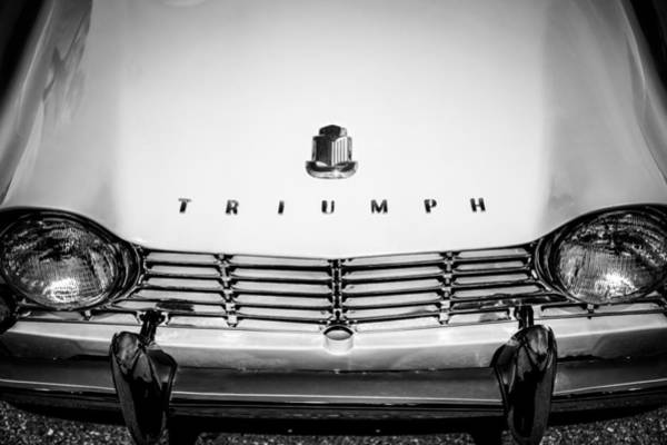 Photograph - 1961 Triumph Tr4 Hood Emblem - Grille -0620bw by Jill Reger