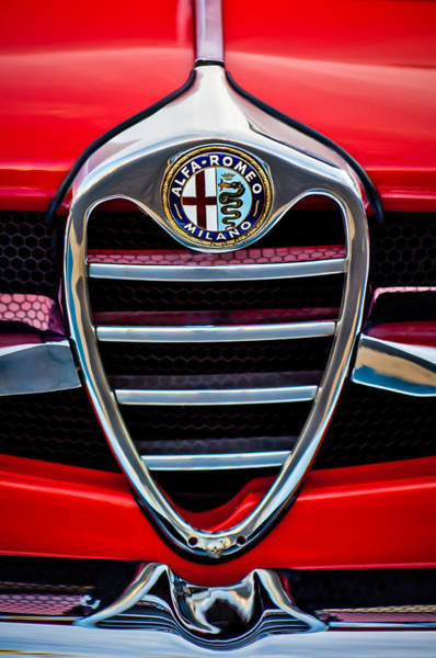 Photograph - 1962 Alfa Romeo Giulietta Coupe Sprint Speciale Grille Emblem -0007c by Jill Reger