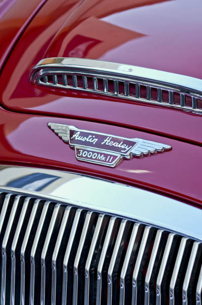 Wall Art - Photograph - 1962 Austin-healey 3000 Mkii Hood Emblem by Jill Reger