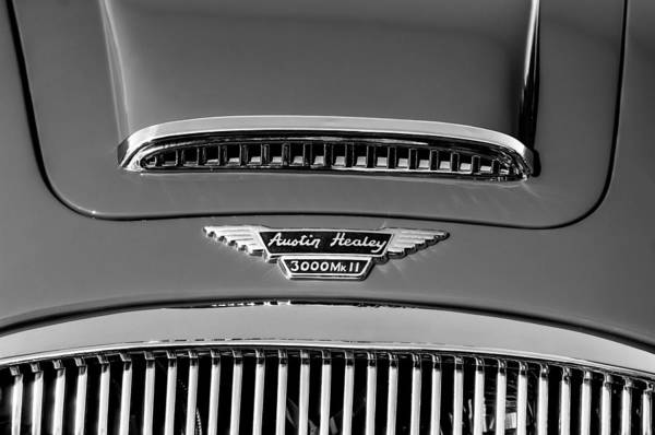 Wall Art - Photograph - 1962 Autsin Healey 3000 Mk II Hood Emblem -0324bw by Jill Reger
