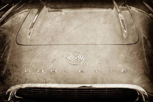 Wall Art - Photograph - 1962 Chevrolet Corvette Hood Emblems -0073s by Jill Reger